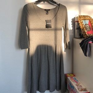 Forever 21 long sleeve gray cotton dress